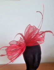 LARGE STUNNING RED SINAMAY FASCINATOR WITH FEATHERS & LOOPS,  SPRING RACING