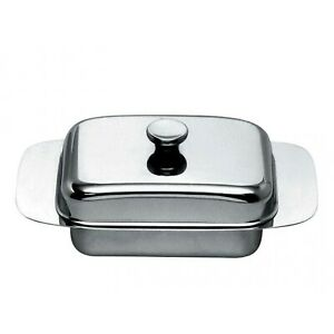 """Alessi """"137"""" Classic Polished Stainless Steel Covered Butter Dish"""