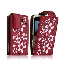 Housse coque étui pour HTC ChaCha motif fleur couleur rouge