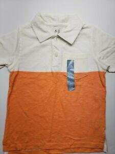 Gap Kids Boys' Polo Short Sleeves T-Shirt for Boys, White/Orange. Size 4. NWT