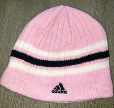 girls one size fits most ADIDAS light pink BEANIE KNIT HAT blue white stripe NP