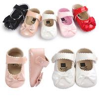 Newborn Baby Girls Anti-slip Leather Christening Pram Shoes Soft Sole Sneaker KW