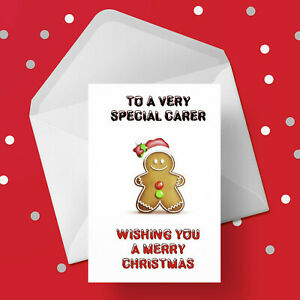 Christmas Card for Carer - Free 1st class postage - Funny Gingerbread Man