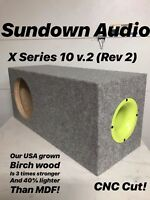 "Sundown Audio X-10 Rev2 X 10"" V2 Sub Custom Aero Ported Subwoofer Box Birch Wood"