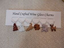 """"""" DOGS"""" SET OF 6 Hand Crafted Wine Glass Charm drink markers"""