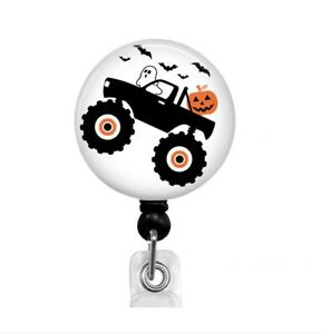 Monster Truck Halloween Badge Reel Holder Ghost Bats Pumpkin, Name Clip, T64
