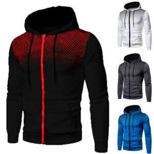 Mens Zip Up Hoodies Hooded Sweatshirt Jumper Casual Pullover Coat Jacket Outwear