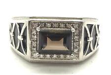 Men's Sterling Silver 925 Emerald Cut Smoky Topaz CZ Halo Enamel Band Ring 10.5