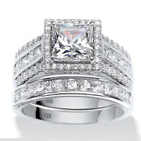 925 Silver Jewelry Princess Cut White Sapphire Wedding Engagement Ring Size 6-10
