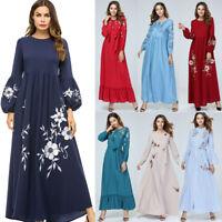 Kaftan Women Muslim Maxi Dress Embroidery Jilbab Dubai Islamic Abaya Long Robe