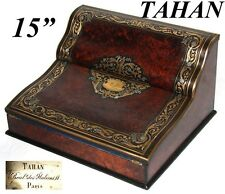 """Antique French signed TAHAN 15"""" Writer's Box, Ecritoire, Burled & Brass Inlays"""