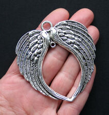 Huge Angel Wings Charm Antique Silver Tone - SC2964