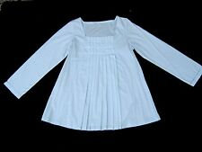 Pale blue soft cotton long sleeve pleated Flared A line Poet Blouse Top Artist