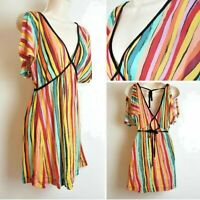 French Connection Rainbow Pride Stripe Off Shoulder Tunic Top Medium 12-14