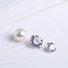 Unsichtbare Halskette Nylon echt SterlingSilber 925 Zirkonia Perle Damen Mädchen