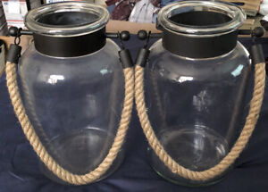 """Large Clear Glass 11"""" h x 6.5""""w Jugs with Metal &  9"""" Drop Rope Handles/ Hangers"""
