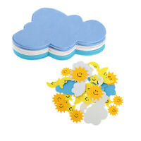 42 Pcs Foam Stickers Self Adhesive Flower Sun Clouds Moon Stickers for Kids
