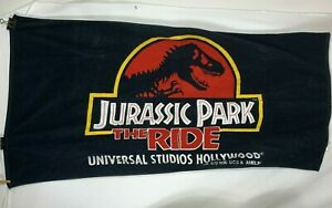 Jurassic Park The Ride Towel Universal Studios 1996 Black Red 29 x 51 Flaw