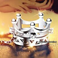 GIFTS FOR HER - 925 Silver Crystal Crown Pendant Necklace+Chain Women Jewellery