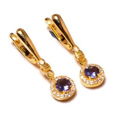 Sterling Silver Yellow Gold Plated Iolite Gems Dangle CZ Hinged Back Earrings