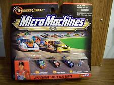 Set of 3 Cars Jeff Gordon Dale Jarrett Kenny Irwin & Flag Man Micro Mach. NASCAR