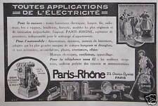 PUBLICITÉ PARIS RHÔNE TOUTES APPLICATIONS DE L'ÉLECTRICITÉ