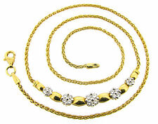 18ct 18Carat Yellow Gold Diamonds Necklaces 18in Clusters Round 0.52ct H VVS2