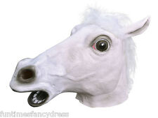 Full Overhead White Grey Horse Pony Latex Head Mask & Mane Pegasus Fancy Dress