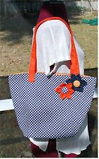 Auburn University War Eagles Navy Polka Dot with Orange Flower Tote Bag Purse