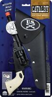 Cavalry Cap Gun Pistol And Holster Die Cast Black Revolving Cylinder Theatrical