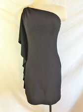 White House Black Market One Shoulder Chain Strap Cascading Ruffle Dress Size 2
