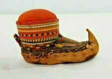 VINTAGE MOCCASIN PIN CUSHION HANDMADE of LEATHER &,HANDWOVEN FABRIC