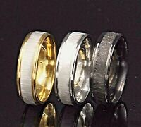 6mm Stainless Steel Mens & Womens Wedding Band - Black Silver Gold Ring M to X