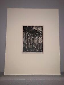Sandzen. Pencil signed Nailhead Woodblock Print. Aspen Grove After Sunset