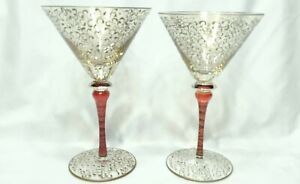 MINT Vtg Gold/Red Scrollwork Hand Painted Large Martini Glasses Hand Blown Set 2