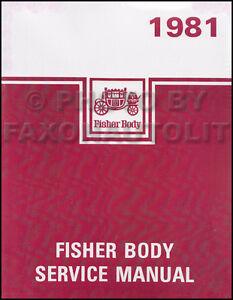 1981 Chevy Body Shop Manual Monte Carlo Malibu El Camino GMC Caballero Service