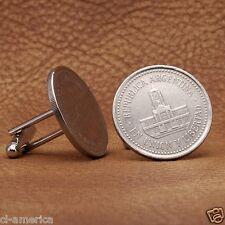 Argentina Coin Cufflinks, Modern 25 Centavos Argentinian Silver Tone