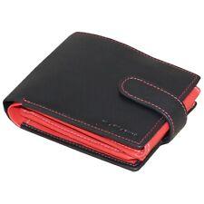 Men's Personalised Debossed Black & Red Leather Wallet + Embossed Gift Box