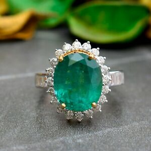 Real 6.25Ct. Oval Emerald Gemstone Cocktail Ring Diamond 18k Yellow Gold Jewelry