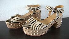 ASH CAPRICE Sandal Leder Schuhe Damen Sandalette Sandalen Nieten Animal Gr37 NEU