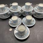 Lot of 11 Vintage Wedgwood Florentine Turquoise Demitasse Cup & Saucer Sets Nice