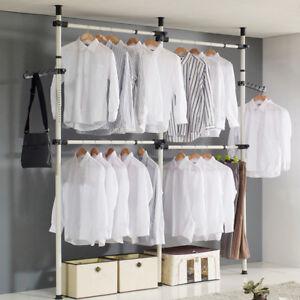 2/3Poles Portable Heavy Duty Movable Garment Rack Coat Hanger Clothes Wardrobe