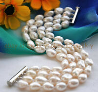 """Beautiful 4 rows 7-8mm white baroque freshwater cultured pearl bracelet 8 """""""