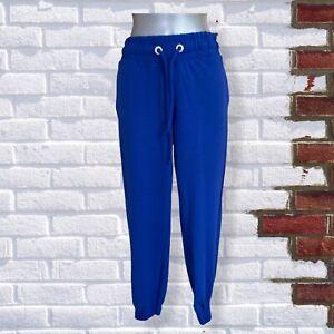 Womens - Size Medium Cobalt Blue Elasticated Waist Cuffed Drawstring Trousers