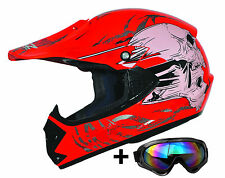 Kids Pro Rot XS Kinder Motorradhelm Brille ATO Cross Helm MX Crossbrille Enduro