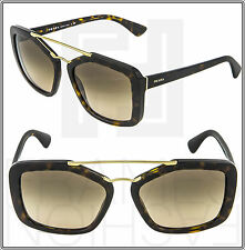 PRADA CINEMA Rectangular Brown Sunglasses PR24RS Gold Havana Aviator SPR 24R