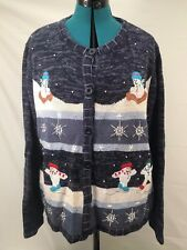 UGLY CHRISTMAS SWEATER TACKY HOLIDAY CUTE SNOWMAN BLUE WOMENS X-LARGE MENS LARGE