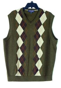 NWOT Rountree & York  Large 100% Cotton V-Neck Brown Argyle Vest Sweater NEW