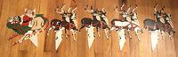 Vintage Christmas Santa Sleigh 8 Reindeer Plastic Outdoor Yard Stakes