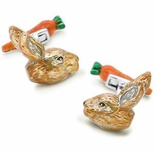 Colour Bunny Rabbit Head and Carrot Back Cufflinks